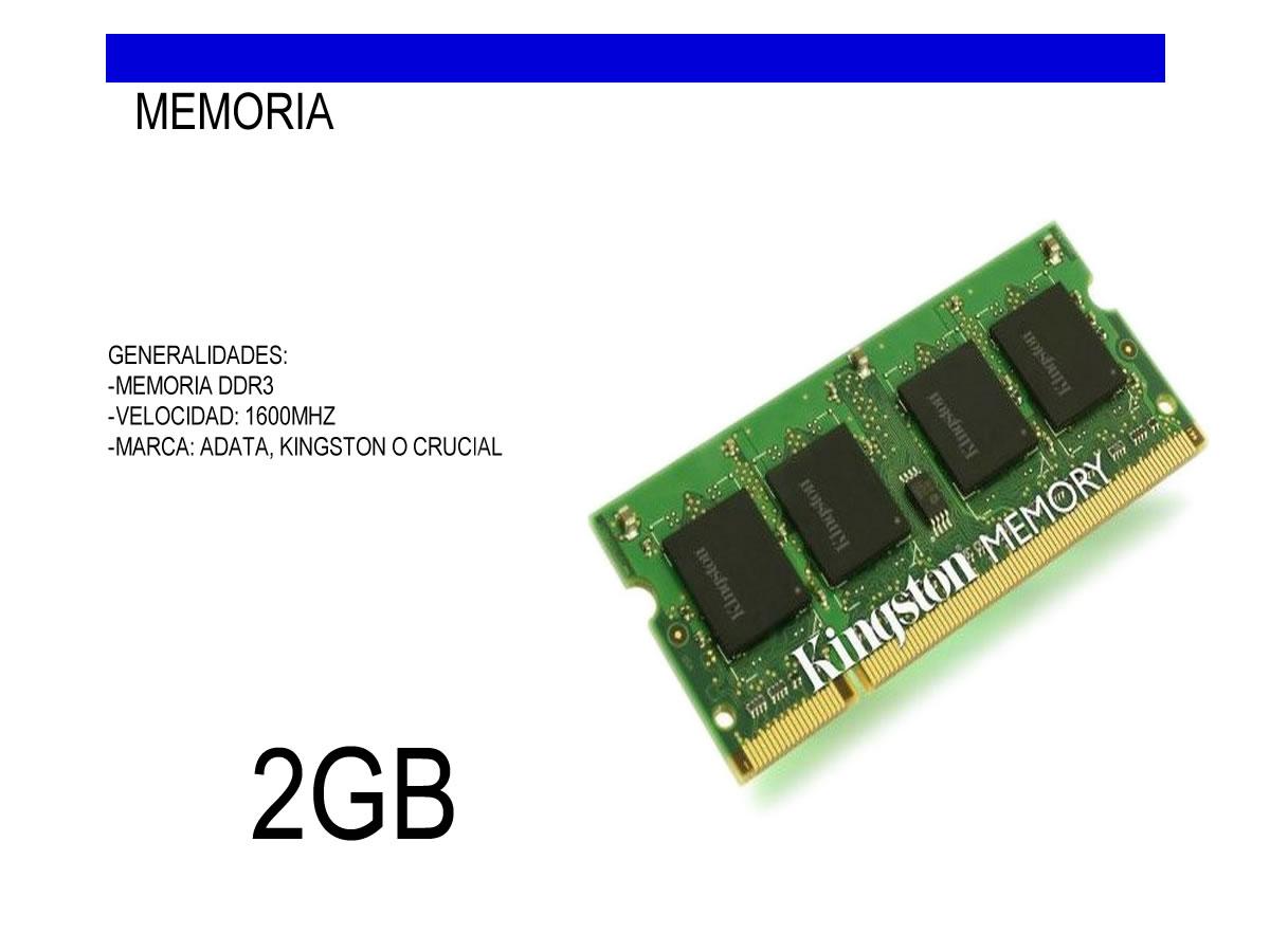 MEMORIA 2GB DDR3sodimm